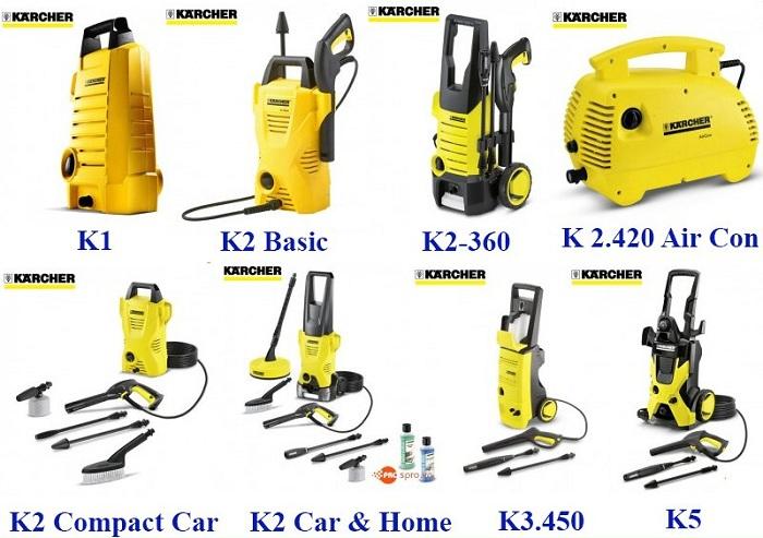 Karcher rất đa dạng về model máy rửa xe