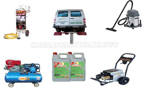 Một số thiết bị, dụng cụ cơ bản phục vụ cho việc rửa xe của tiệm